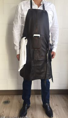 Custom Made Premium Leather Grilling Apron Distressed Brown - Personalized Embroidery