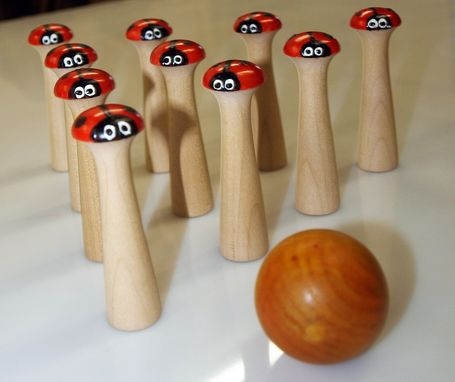 Custom Made 10 Pin  Wooden Lady Bug Bowling Set