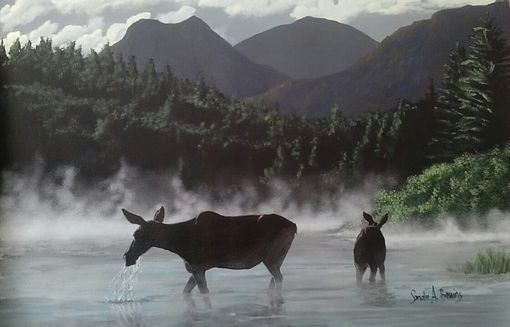 "Custom Made "" Hidden Pond ""  Moose And Calf Painting"