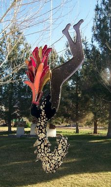 "Custom Made ""Fire Dancer"" - Fused Glass Hanging Sculpture"
