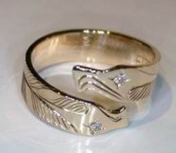 Custom Made Wrap-Around Eagle Head Ring With Diamond Eyes