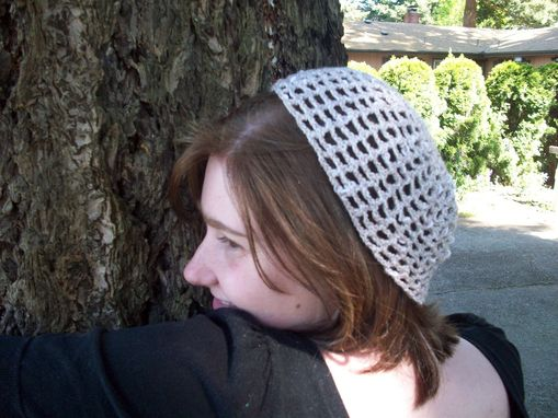 Custom Made Linen Cotton Acrylic Blend Skullcap In Beige And White Mesh Crochet