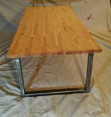 Custom Made Butcher Block Coffee Table With Steel Legs
