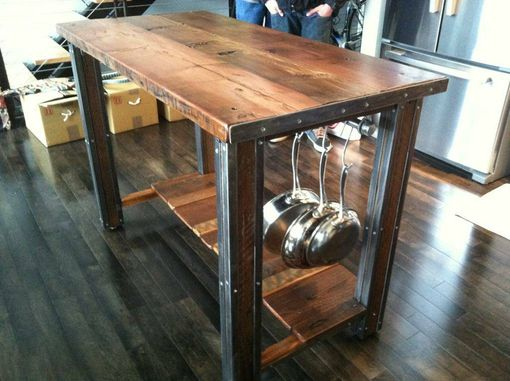 Custom Made Reclaimed Redwood Island/Bar With Industrial Metal Accent.