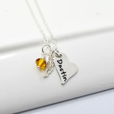 Custom Made Hand-Stamped Memory Necklace With Angel Wing And Swarovski Bead