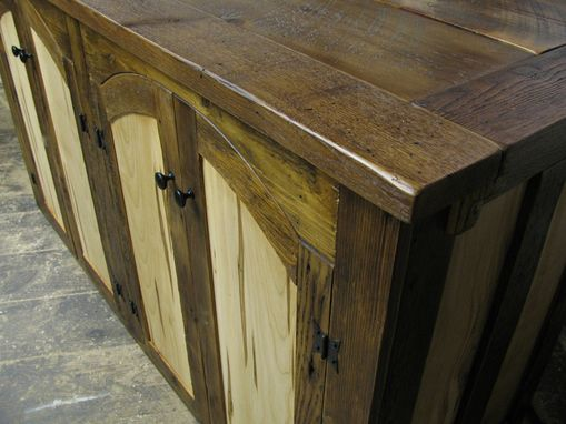 Custom Made Rustic Tv Lift Cabinet With Spaulted Maple Doors