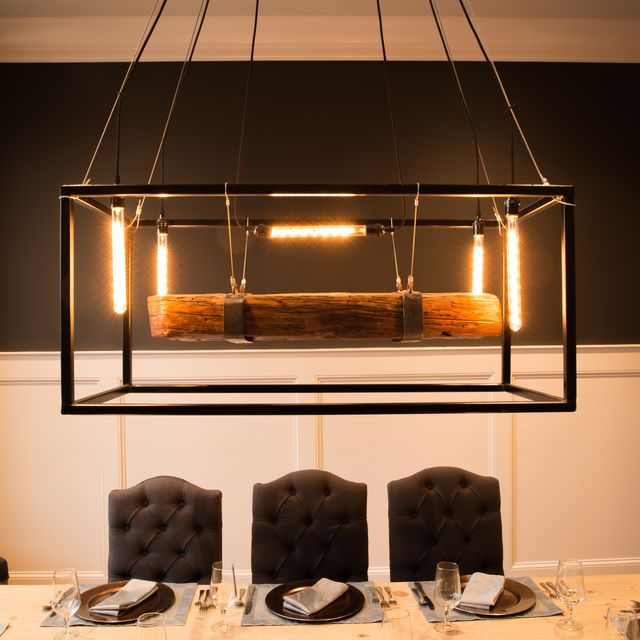 Buy Hand Crafted Wood Beam Large Chandelier Framed Light With Edison Bulbs Made To Order From Carroll By Design