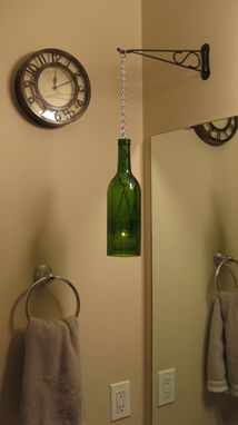 Custom Made Wine Bottle Chain Lantern: Garden Light/Candle Holder - Green