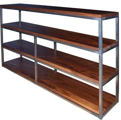Custom Made Floating Walnut Wood And Steel Shelf