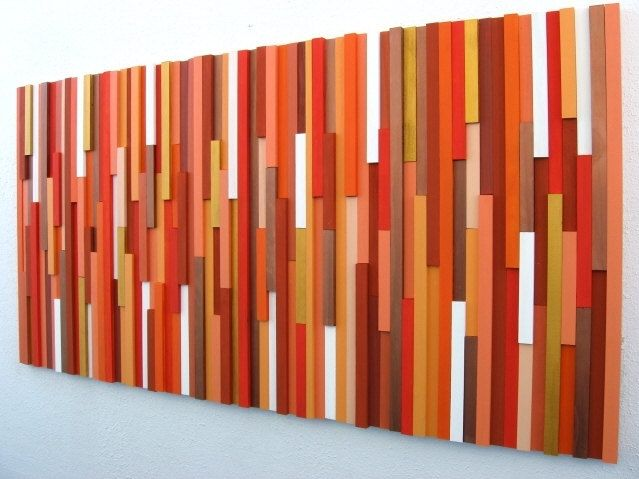Abstract Wall Art hand crafted orange wood abstract wall artmodern rustic art