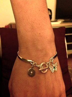 Custom Made Butterfy Charm Adjustable Bangle Bracelet With Engarved  Disc And Natural Emerald