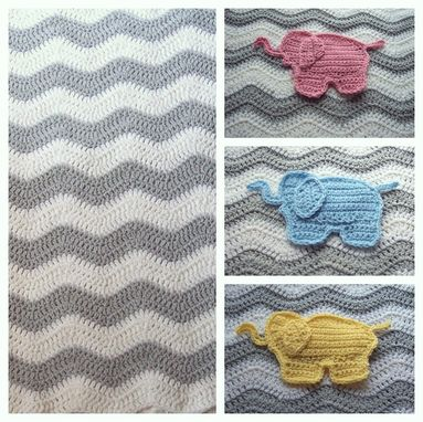 Custom Made Gray Chevron Elephant Baby Blanket