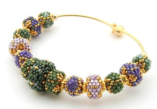 Custom Made Changeable Beaded Bead Bangle Bracelet In Mardis Gras Colors