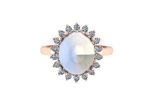 Custom Made Moonstone In Rose Gold With Diamonds