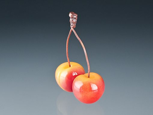 Custom Made Pair Of Realistic Glass Rainier Cherries With Conjoined Copper Wire Stems