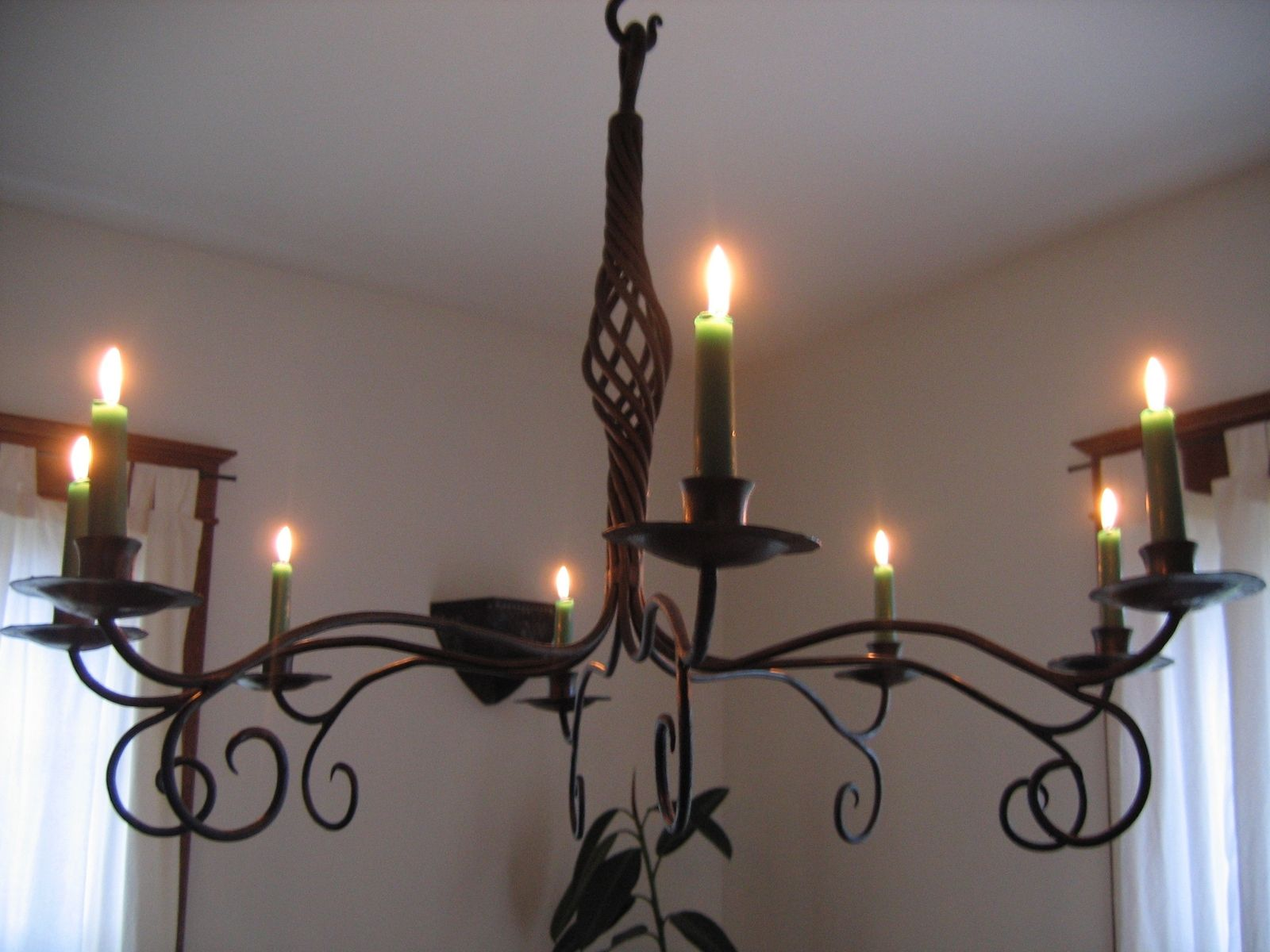 Hand Crafted Forged Iron Candle Chandelier by Mystic Metallurgy