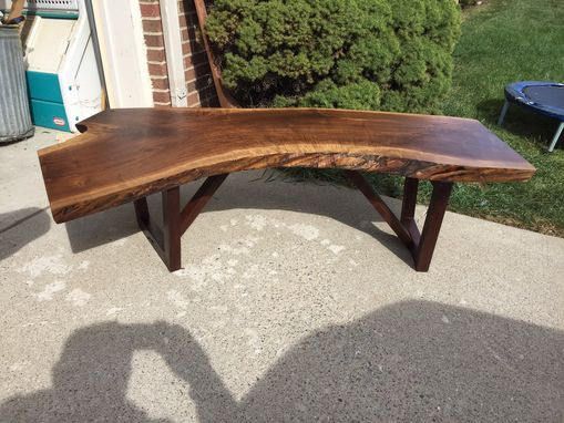 Custom Made Beautiful Curved Live Edge Walnut Coffee Table Or Bench