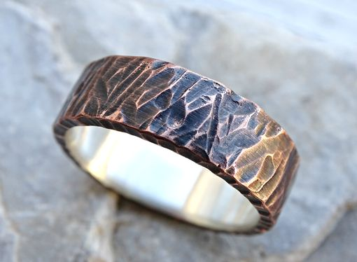 viking wedding band mens promise ring or unique mens wedding band two toned - Viking Wedding Rings