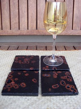 Custom Made Coasters Handmade Travertine Black And Copper-Set Of 4