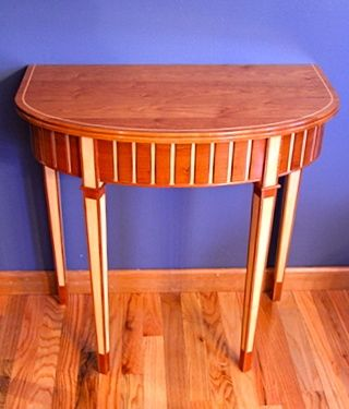 Custom Made Fluted Demilune Table Of Cherry And Maple