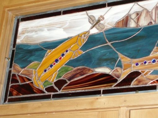 Custom Made Stained Glass Side Lights And Transom, Jackson Hole,Wy Trout Theme