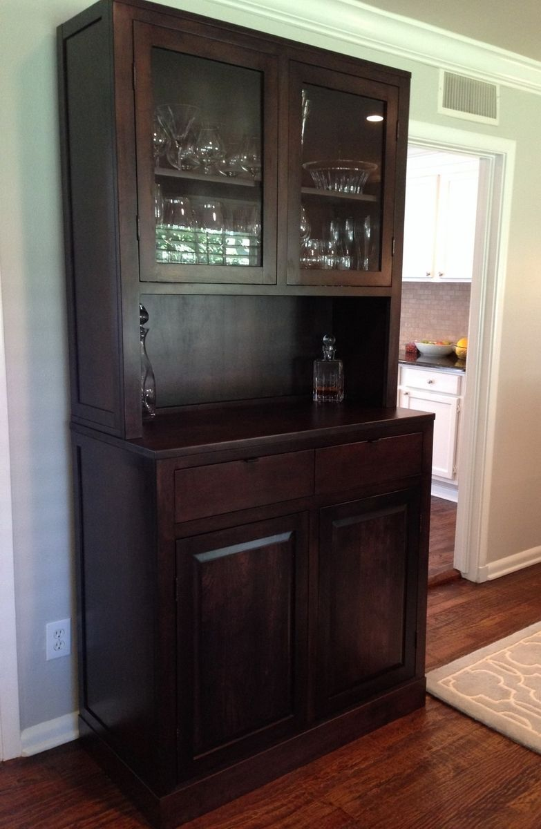 Hand made clean modern cherry china cabinet by north texas wood works - Custom made cabinet ...