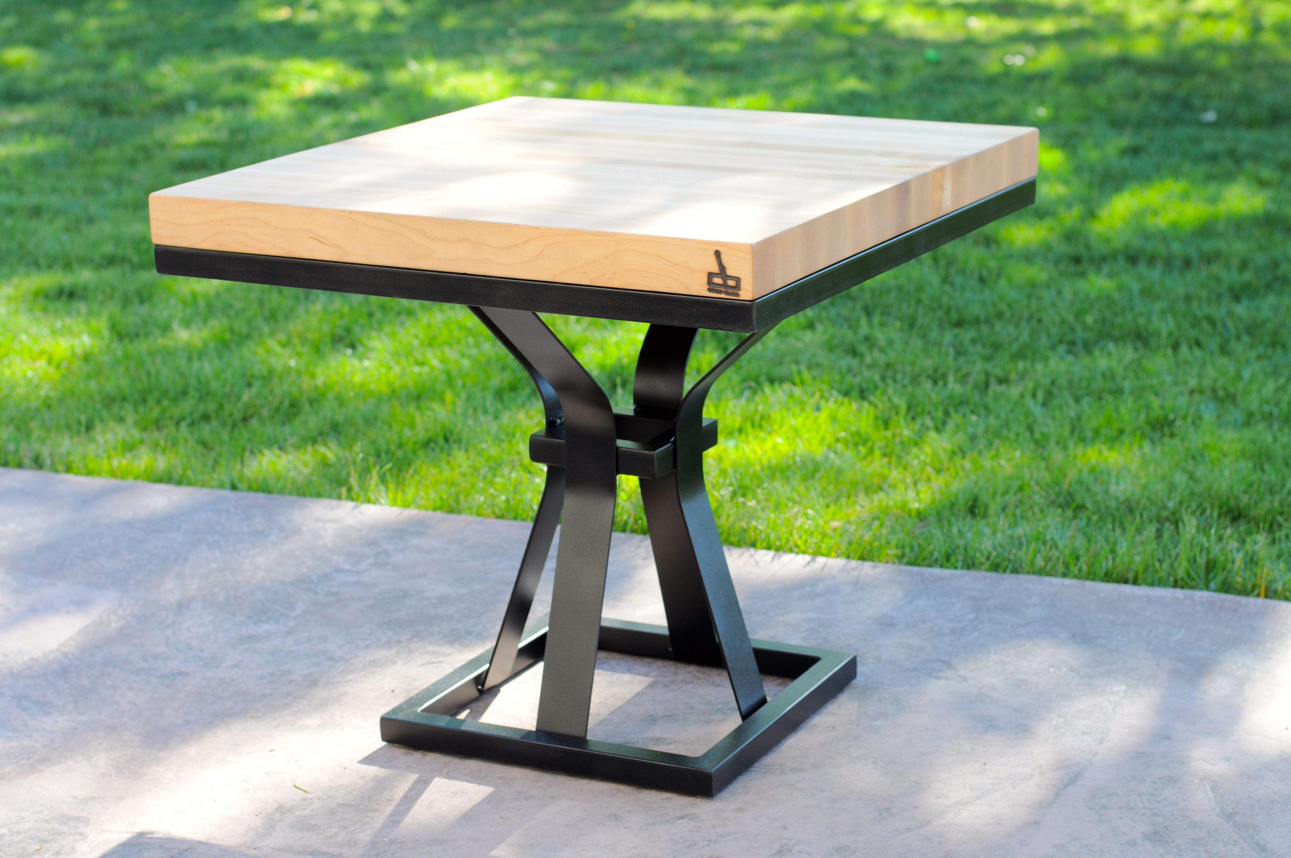 Hand Crafted Black Modern Wood Metal End Table Chess Table Coffee