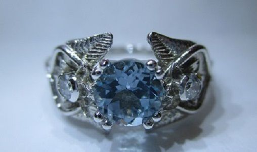 Custom Made Rustic Elvish Flowers Leaves And Vines Infinity Ring With Blue Topaz And Fine Diamonds