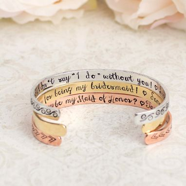 Custom Made Bridesmaids Or Wedding Party Personalized Cuff Bracelets
