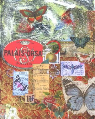 Custom Made Mixed Media Original Painting, Butterflies, Paris
