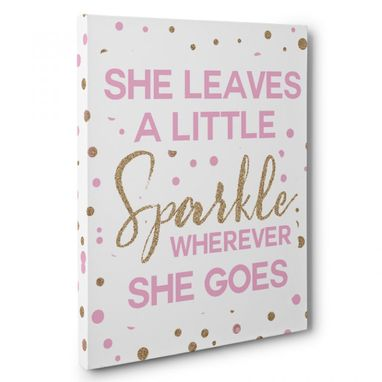 Custom Made She Leaves A Little Sparkle Canvas Wall Art