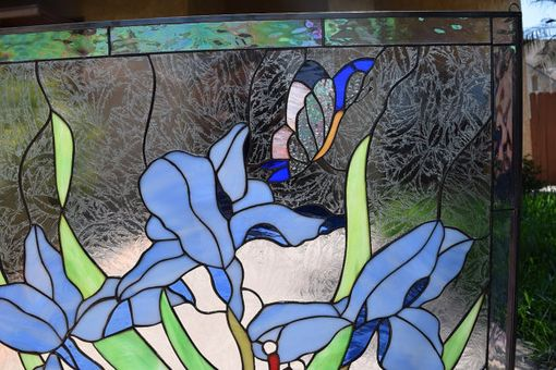 Custom Made Blue Iris & Butterfly Stained Glass Window