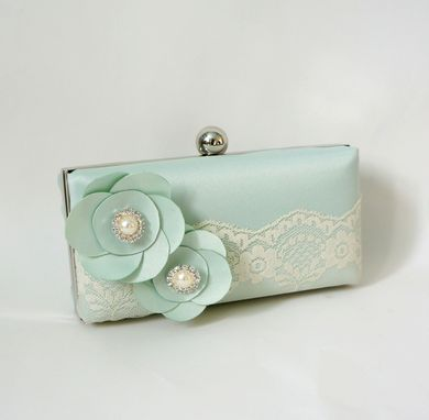 Custom Made Mint Greenclutch Purse With Lace And Handmade Flowers