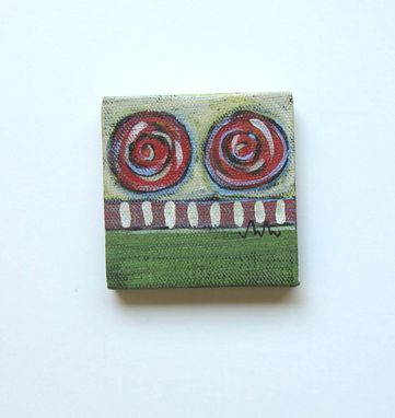 Custom Made Abstract Miniature Painting Acrylic Original With Green Background