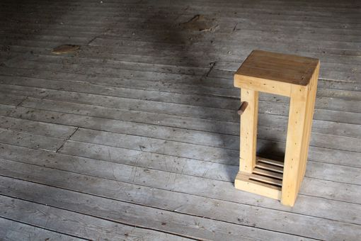 Custom Made Bowling Alley Bench That Doubles As A Stool, Or Small Coffee Table That Doubles As A Plant Stand