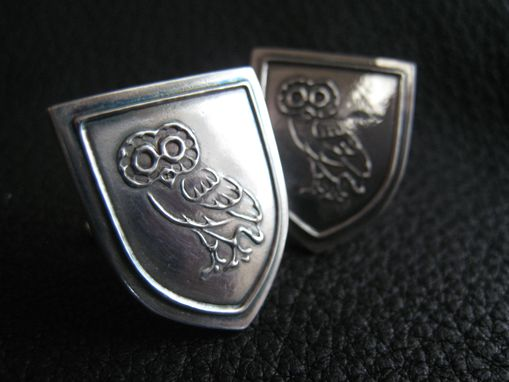 Custom Made Custom Sterling Silver Cufflinks With Minerva Athenian Owl