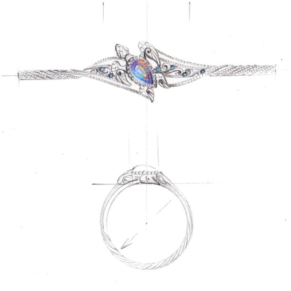 Design sketch for a turtle engagement ring with a guitar string-inspired band and black opal center stone.