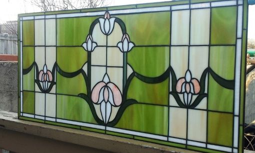 "Custom Made Stained Glass Transom - ""Tulips Chain"" (Tw-33)"