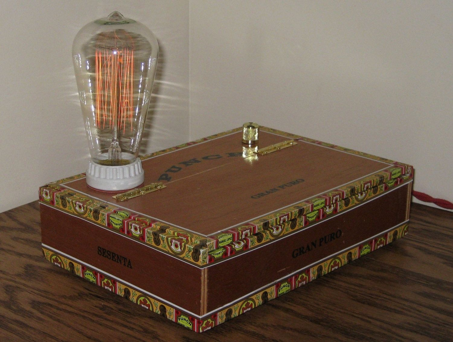 Custom Made Cigar Box Desk Lamp Punch Gran Puro By