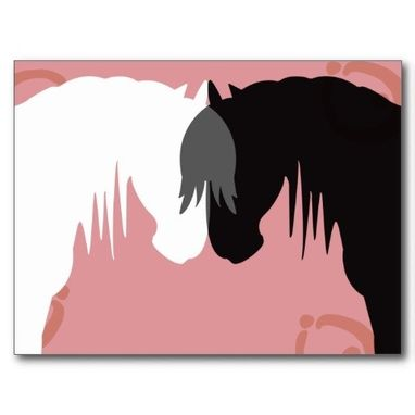 Custom Made The Yin & Yang Horses Postcards