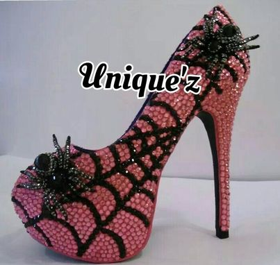 Custom Made Rhinestone Open Toe Spider Heels (Charlotte's Web-Pink)