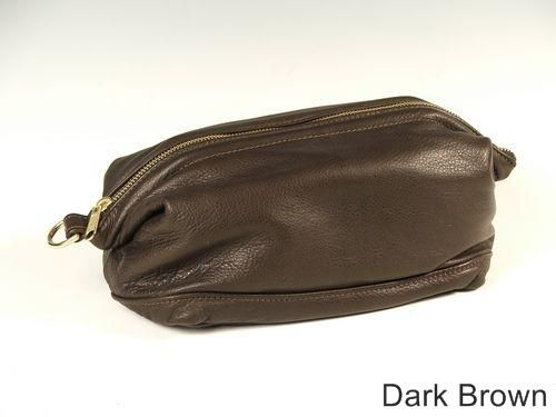 Custom Made Dark Brown Leather Shave Bag