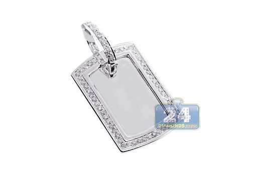 Custom Made Mens Diamond Dog Tag Id Pendant 10k White Gold 0.84 Ct Round Cut