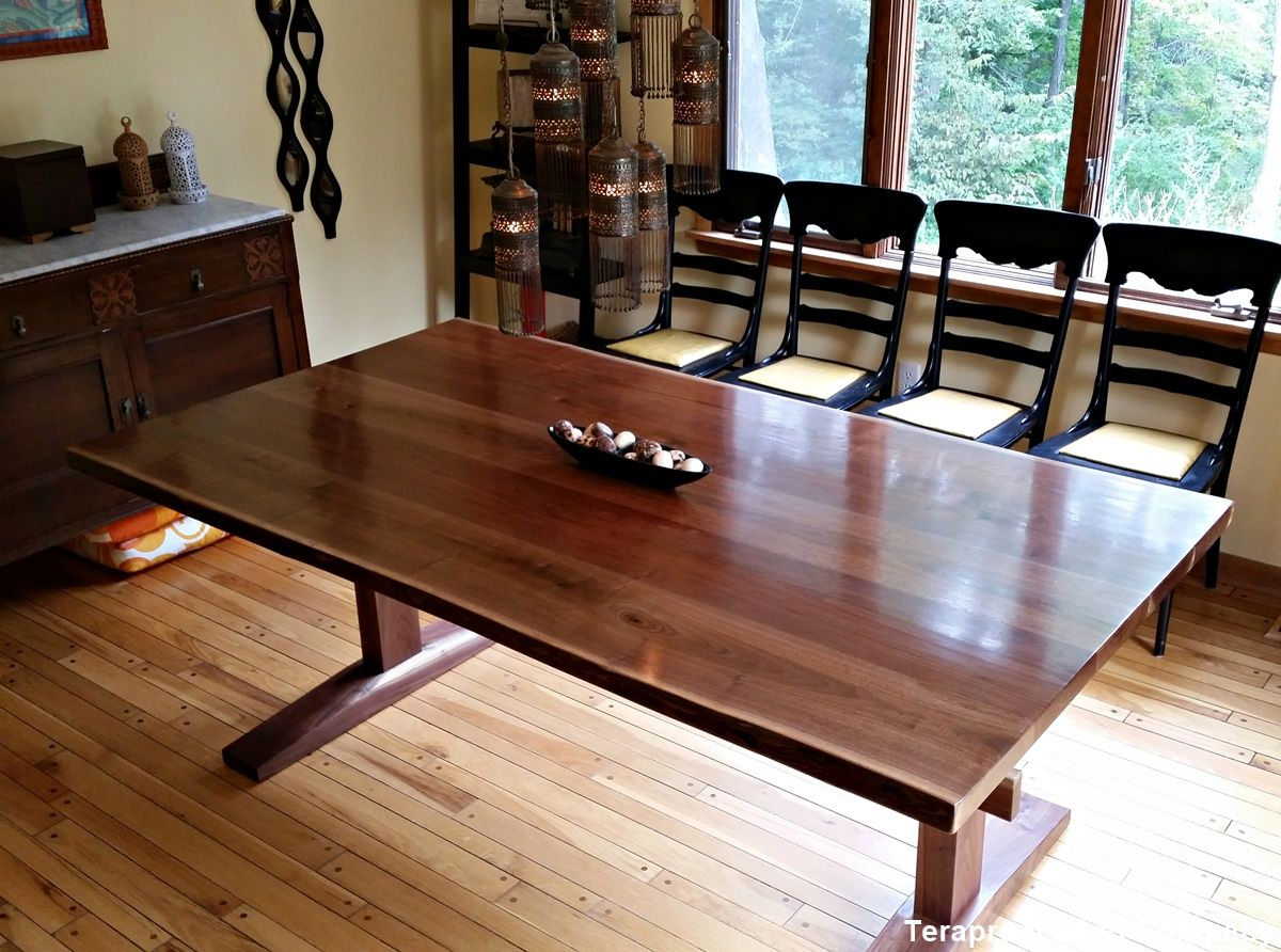 Walnut trestle dining table - Custom Made Live Edge Walnut Trestle Dining Table