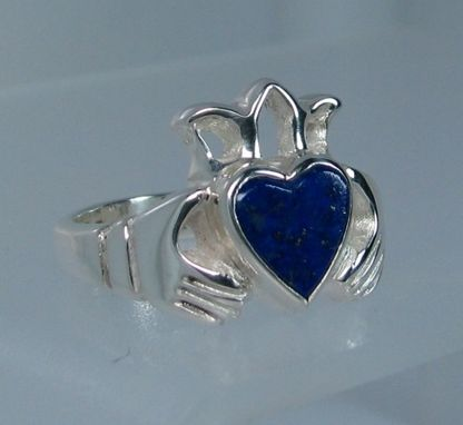 Custom Made Claddagh Ring With Lapis Heart