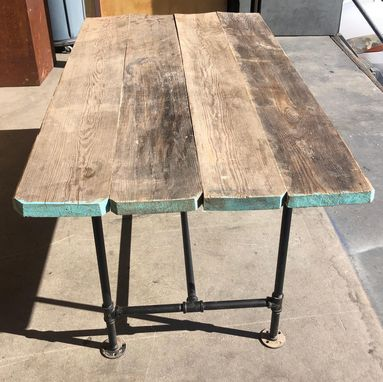 Custom Made Reclaimed Scaffold Plank Table With Steel Pipe Base