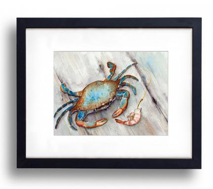 Custom Made Blue Crab With Shrimp. Seafood, Restaurant, Dining Room Or Kitchen Art.