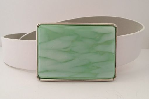 Custom Made Fused Glass Belt Buckle Mint