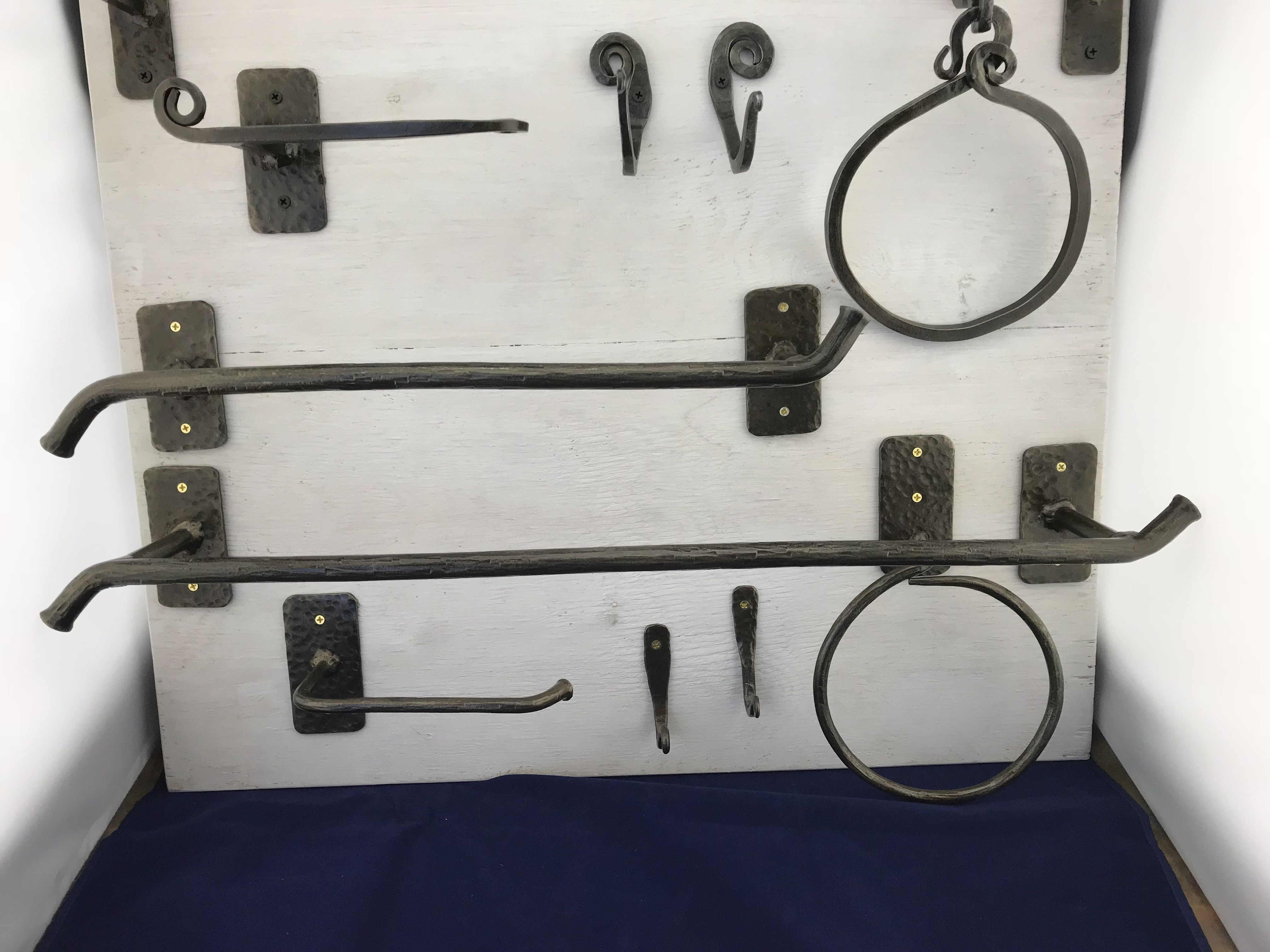 Hand Crafted Custom Hand-Forged Bath Hardware Set By