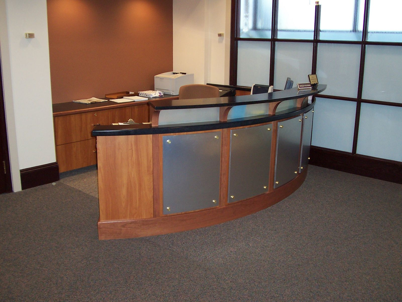 custom made accounting reception desk by mica shop. Black Bedroom Furniture Sets. Home Design Ideas